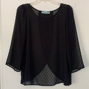 Black open back blouse